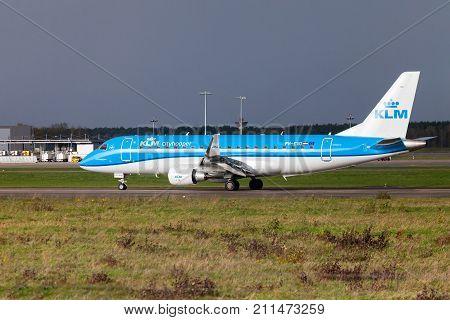 LANGENHAGEN / GERMANY - OCTOBER 28 2017: Embraer ERJ-175 from airline KLM lands on international airport Langenhagen / Hanover.