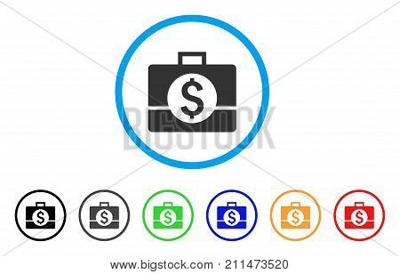 Business Case rounded icon. Style is a flat grey symbol inside light blue circle with additional color variants. Business Case vector designed for web and software interfaces.