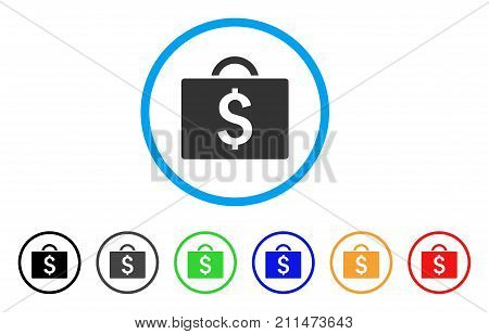 Commercial Briefcase rounded icon. Style is a flat gray symbol inside light blue circle with bonus colored versions. Commercial Briefcase vector designed for web and software interfaces.