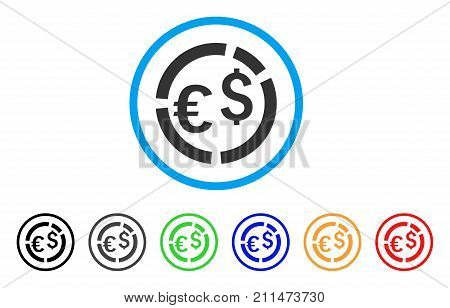 Currency Diagram rounded icon. Style is a flat gray symbol inside light blue circle with additional colored versions. Currency Diagram vector designed for web and software interfaces.