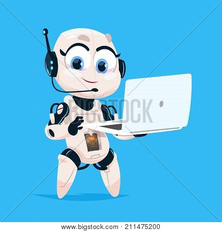 Cute Robot Hold Laptop Computer Chat Bot Robotic Girl Isolated Icon On Blue Background Modern Technology Artificial Intelligence Concept Flat Vector Illustration