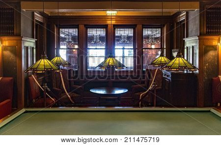DULUTH MN - JULY 3 2016 - The billiards room in Glensheen Historic Estate on July 3 2016 in Duluth.