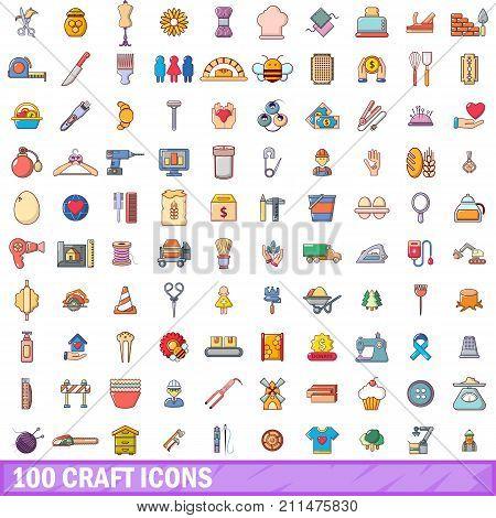 100 craft icons set. Cartoon illustration of 100 craft vector icons isolated on white background
