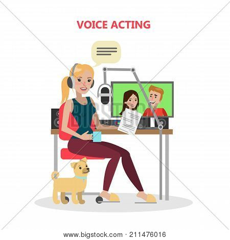 Voice acting woman with mic and tools. Dubbing the film or serial.