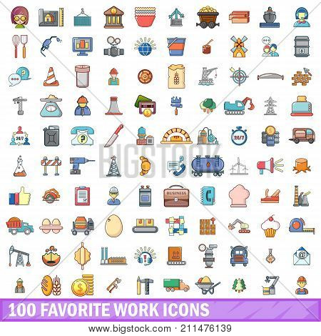 100 favorite work icons set. Cartoon illustration of 100 favorite work vector icons isolated on white background