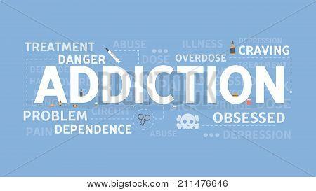 Addiction concept illustration. Drugs and food addiction.