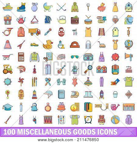 100 miscellaneous goods icons set. Cartoon illustration of 100 miscellaneous goods vector icons isolated on white background poster