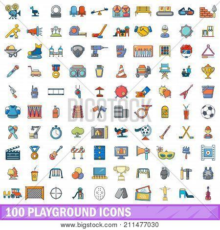 100 playground icons set. Cartoon illustration of 100 playground vector icons isolated on white background