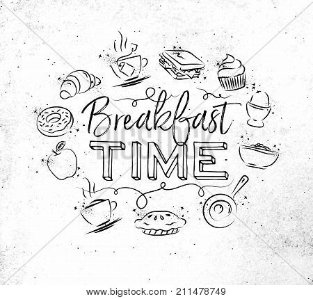 Breakfast time monogram with food icon drawing on dirty paper background