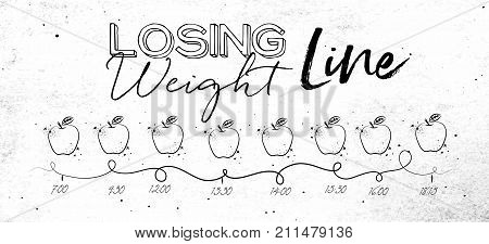 Timeline on losing weight theme illustrated time of meal and food icons drawing with black lines on dirty paper background
