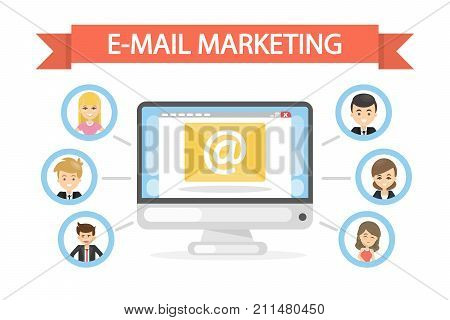 E-mail marketing concept illustration. Business tool for successful marketing.