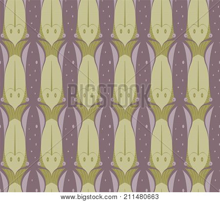 Seamless Tessellation Pattern of Squid and Fish Vector Background
