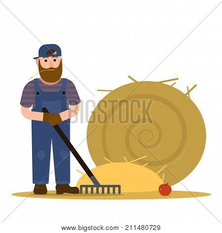 Farmer redneck with beard in overalls and baseball cap hat working with rake and a round sheaf of hay. Vector Illustration, flat, Cartoon