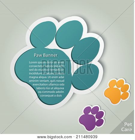 Paw banner vector. Animal pet footprint badge template, paws print Vector