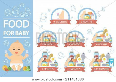 Food for baby. Infographics of appropriate food for baby age.