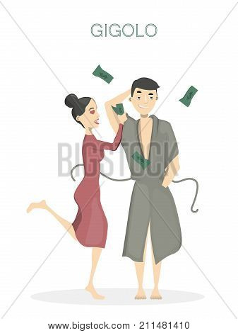 Gigolo with woman. Isolated playboy man in bathrobe with screaming happy woman with money.