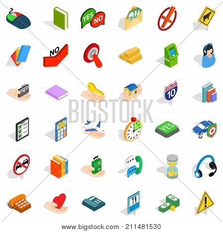 Operator icons set. Isometric style of 36 operator vector icons for web isolated on white background
