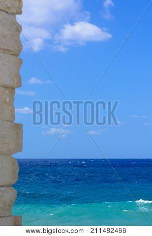 View of darkly blue sea vertical format