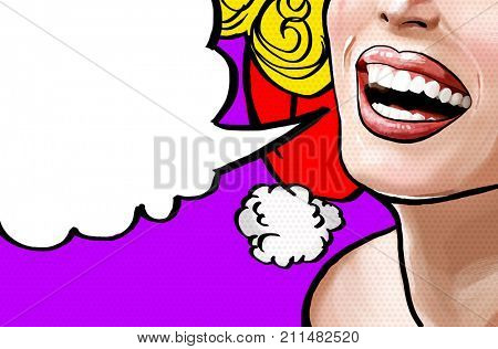 Pop art illustration beautiful smiling young Christmas woman, face detail. Pop art woman with speech bubble. Vintage advertising poster. Comics xmas female face.