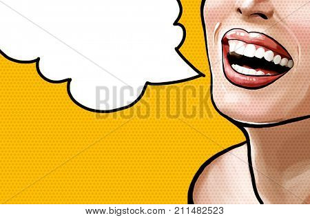 Pop art illustration beautiful smiling young fresh woman, face detail. Pop art woman with speech bubble. Vintage advertising poster. Comics femail face.