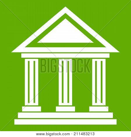 Colonnade icon white isolated on green background. Vector illustration