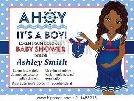 Vector card template with beautiful pregnant African American woman dressed in nautical style. Card template for baby boy shower on polka dot background. Vector baby boy shower. Vector illustration