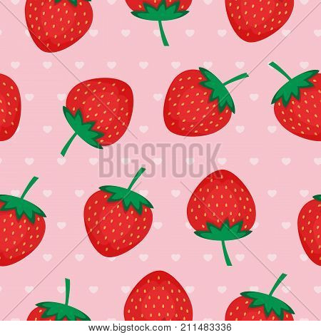 Seamless background with red strawberries. Vector strawberry pattern on pink background with hearts. Design for wallpapers, web pages, textures, textile.