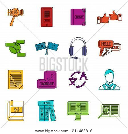 Learning foreign languages icons set. Doodle illustration of vector icons isolated on white background for any web design