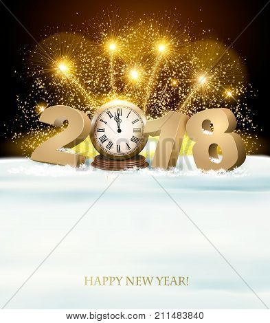 Happy New Year background with 2018 and fireworks. Vector.