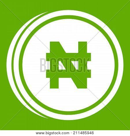 Coin naira icon white isolated on green background. Vector illustration
