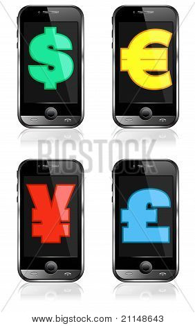 Pay by Mobile, Cell Smart Phone Dollar, Pound, Euro, Renminbi, Yen