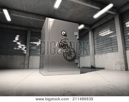 Bank safe in old garage. 3D illustration.