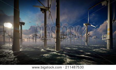 Dusk skies over windmill turbines farm 3d rendering