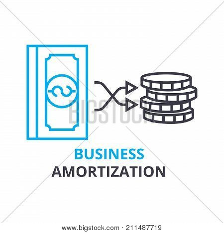 business amortization concept, outline icon, linear sign, thin line pictogram, logo, flat vector, illustration