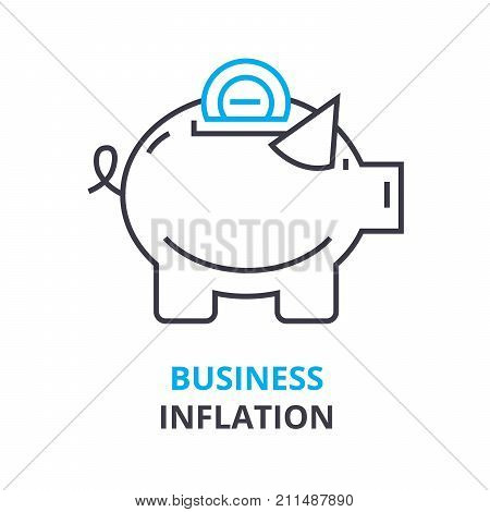 business inflation concept, outline icon, linear sign, thin line pictogram, logo, flat vector, illustration