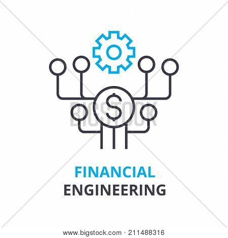financial engineering concept, outline icon, linear sign, thin line pictogram, logo, flat vector, illustration