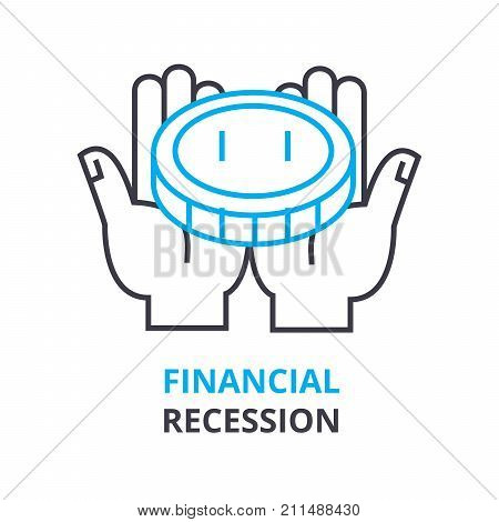 financial recession concept, outline icon, linear sign, thin line pictogram, logo, flat vector, illustration