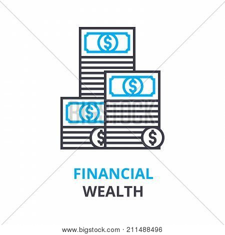 financial wealth concept, outline icon, linear sign, thin line pictogram, logo, flat vector, illustration
