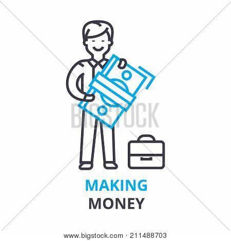 making money concept, outline icon, linear sign, thin line pictogram, logo, flat vector, illustration