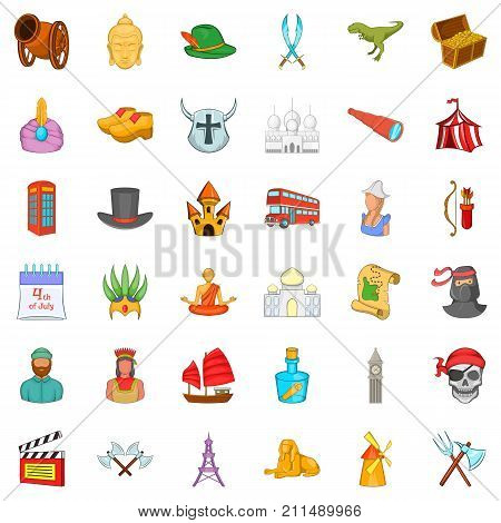 History icons set. Cartoon style of 36 history vector icons for web isolated on white background