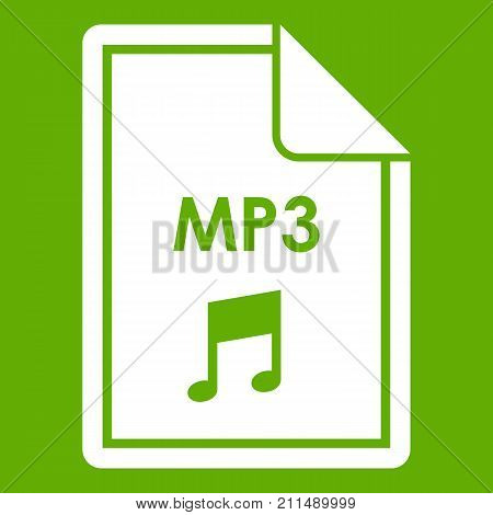 File MP3 icon white isolated on green background. Vector illustration
