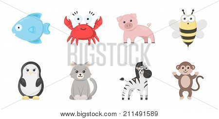 An unrealistic animal icons in set collection for design. Toy animals vector symbol stock  illustration.