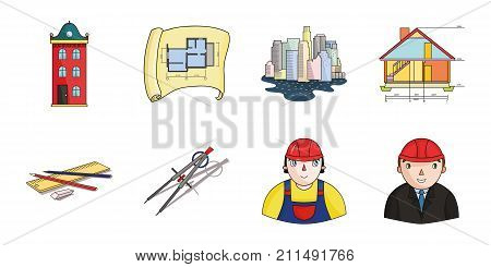 Architecture and construction icons in set collection for design. Architect and equipment vector symbol stock  illustration.