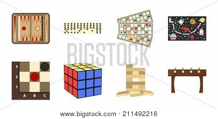 Board game icons in set collection for design. Game and entertainment vector symbol stock  illustration.