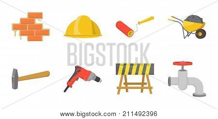 Building repair icons in set collection for design. Building material and tools vector symbol stock  illustration.