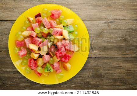 Vegetarian Salad Of Fruit On A Plate