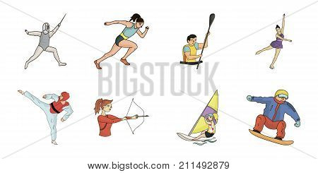 Different kinds of sports icons in set collection for design. Athlete, competitions vector symbol stock  illustration.