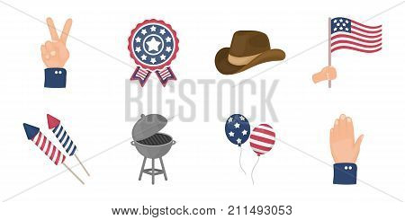 Day of Patriot, holiday icons in set collection for design. American tradition vector symbol stock  illustration.