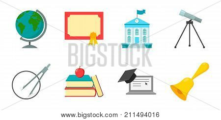School and education icons in set collection for design.College, equipment and accessories vector symbol stock  illustration.