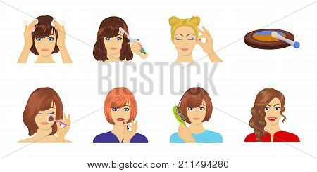 Care of hair and face icons in set collection for design. Perfumes and makeup vector symbol stock  illustration.